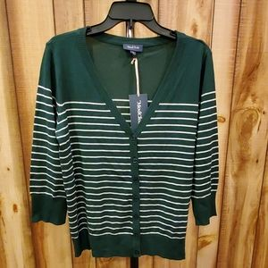 Modcloth Green White Stripe Cardigan Charter